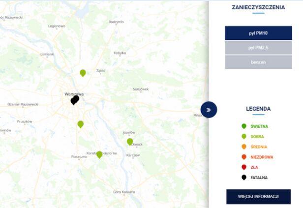 Jakość powietrza w Warszawie o godzinie 13.50 TVN Meteo za GIOŚ