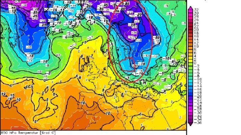 Prognoza napływu mroźnej masy powietrza arktycznego na początku marca, temperatura na wysokości około 1,5 kilometra z zaznaczonym jęzorem chłodu (model GFS/wetter3)