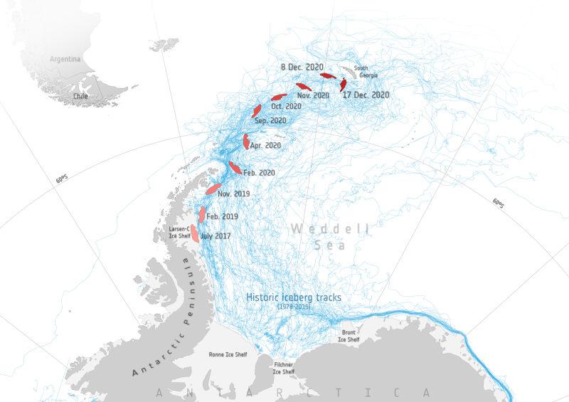 Podróż góry lodowej A-68A (Copernicus Sentinel data (2020)/ESA/Antarctic Iceberg Tracking Database)