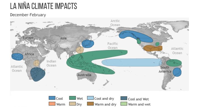 Wpływ La Ninii na pogodę na świecie