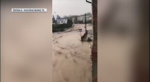 Skutki ulewnego deszczu w Krzyżanowicach w powiecie raciborskim
