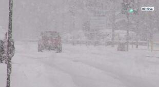 Trudne warunki na drogach w Ostródzie